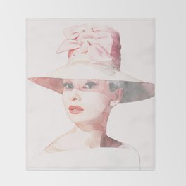 Audrey Hepburn - Watercolor Throw Blanket