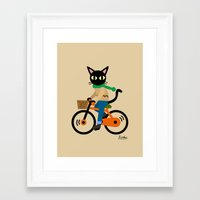 cycling Framed Art Prints featuring Whim's cycling by BATKEI