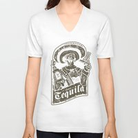tequila V-neck T-shirts featuring Señor Tequila by Trøbbel