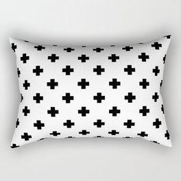 Black and White Swiss Cross Pattern Rectangular Pillow
