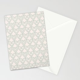 Elegant ivory pastel green lace romantic heart pattern Stationery Cards