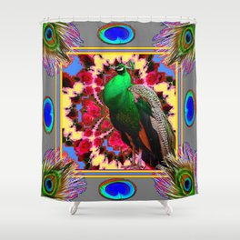 GREEN PEACOCK JEWELS & FEATHERS GREY ART Shower Curtain