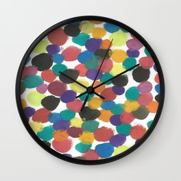 Colorful Painterly Spots Wall Clock
