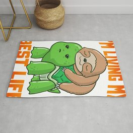 Sloth & Turtle I'm Living My Best Life Adorable Rug