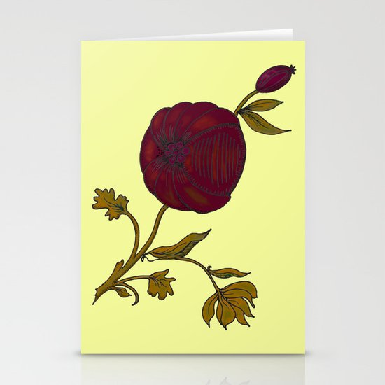 simple decorative pomegranate 3 Stationery Cards