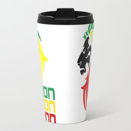 Reggae Rasta, Rastafari Iron, Lion, Zion vector logo design, jamaica colors, reggae music song quote Travel Mug