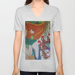 Llama and butterfly Unisex V-Neck