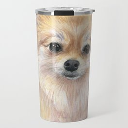 Pomeranian Watercolor Pom Puppy Dog Painting Travel Mug
