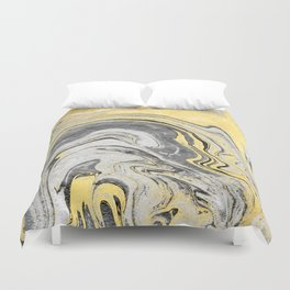 Reiko - gold grey black and white minimal marble abstract ink japanese modern monoprint art  Duvet Cover