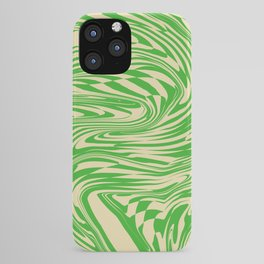 Psychedelic Warped Marble Wavy Checkerboard in Green and Cream iPhone Case