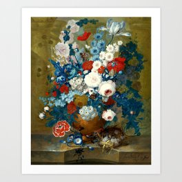 "Jan van Os  ""Flower still life with a bird's nest on a ledge"" Art Print"