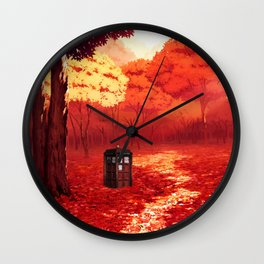 Tardis Autumn Forest Wall Clock