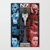 n7 Canvas Prints featuring N7: The Male Squad by Alex Rodway Illustration