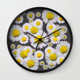 CHARCOAL GREY GARDEN OF SHASTA DAISY FLOWERS Wall Clock
