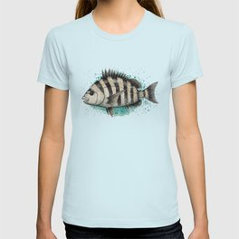 """Sheepshead Splash"" by Amber Marine ~ Watercolor Fish Painting (Copyright 2016) T-shirt"