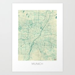 Munich Map Blue Vintage Art Print