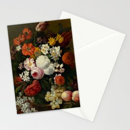 """Philip van Kouwenbergh """"Still life of flowers with roses, peonies, hollyhock, tulips, grapes..."""" Stationery Cards"""