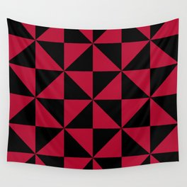 Geometric pin wheel pattern in red and black Wall Tapestry