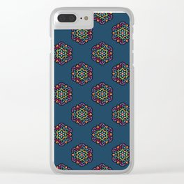 Cosmic Bloom Psychedelic Mandala Pattern Clear iPhone Case