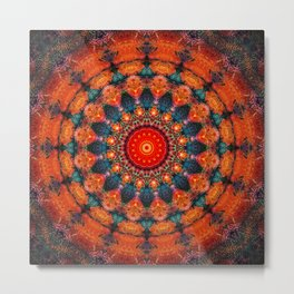 Tangerine Orange Mandala Design Metal Print