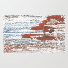 Orange blue marble wash drawing Rug