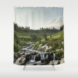 Early Evening Light on Mount Rainier above Edith Creek Shower Curtain