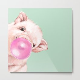 Bubble Gum Sneaky Baby Pig in Green Metal Print