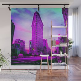 Flatiron Building (Purple - Electric Violet) - Manhattan NY City - Street Lights - Oil painting  Wall Mural
