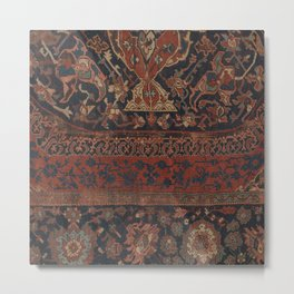 Boho Chic Dark III // 17th Century Colorful Medallion Red Blue Green Brown Ornate Accent Rug Pattern Metal Print