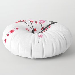 red plum flower red background Floor Pillow
