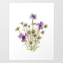 Iris and daisy flowers Art Print