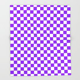 Small Checkered - White and Violet Throw Blanket