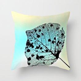 Weathered Poplar Leaf, Skeleton leaf Throw Pillow