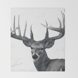 The Majestic Trophy Buck - Deer Graphite Pencil Drawing - by Julio Lucas Throw Blanket