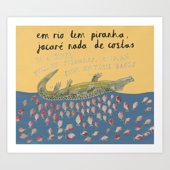 A River Full of Piranhas Art Print