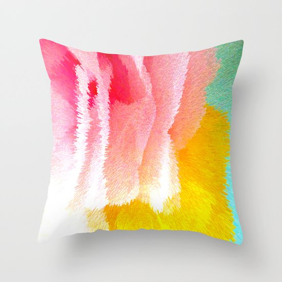 Pink and yellow Throw Pillow by Lara Gurney Society6
