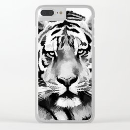 Tiger Black and white Clear iPhone Case
