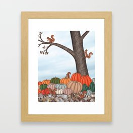 heirloom pumpkins, squirrels, & the oak tree Framed Art Print