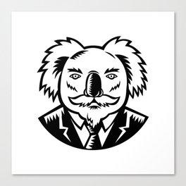 Koala With Moustache Woodcut Black and White Canvas Print