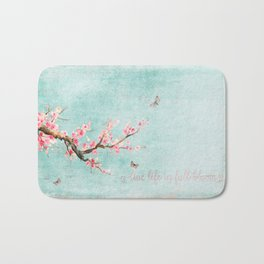 Live life in full bloom - Romantic Spring Cherry Blossom butterfly Watercolor illustration on aqua Bath Mat