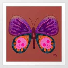Skull patterned Butterfly  Art Print