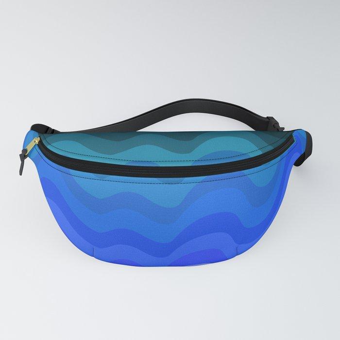 Blue Wave Retro Ripple Fanny Pack