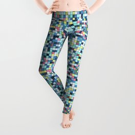 Blue White Yellow Tiling Colored Squares Leggings