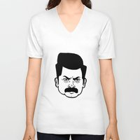 ron swanson V-neck T-shirts featuring Ron Swanson by bookotter