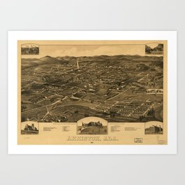 Aerial View of Anniston, Alabama (1887) Art Print