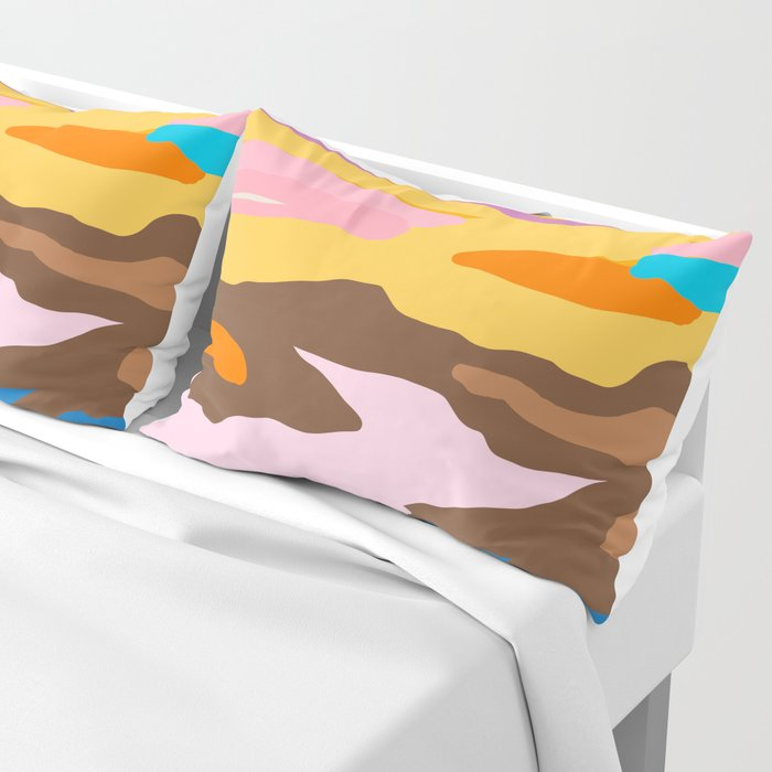 Shape and Layers no.19 - Abstract Modern Landscape Pillow Sham