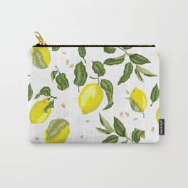 Citrus lemon with seeds and leaves pattern Carry-All Pouch
