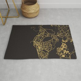 SINGAPORE GOLD ON BLACK CITY MAP Rug