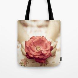 Rose in her hands III Tote Bag
