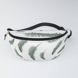 Realistic Ash Green Feather Pattern Fanny Pack